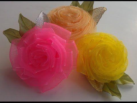 Воздушный цветок из органзы/Как сделать цветок из органзы/cómo hacer flores de organza - YouTube