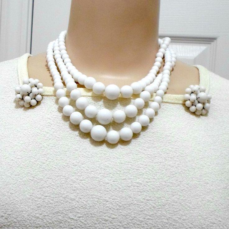 Jewelry Set Hong Kong white beads 3 strand necklace clip on cluster earrings VTG #HongKong
