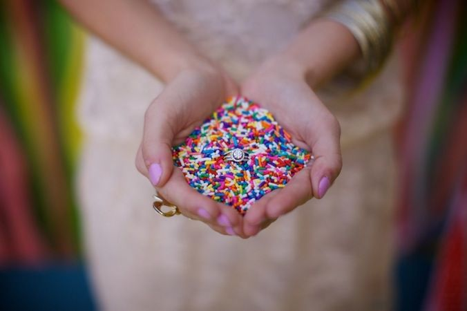 Throw rainbow sprinkles instead of rice - they're easier for birds to digest and they add the perfect pop of color to your ceremony or honeymoon exit!