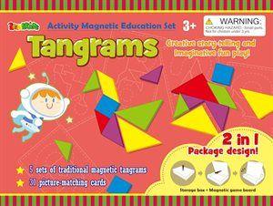 Magnetlåda Tangram - Tangram är en mycket gammal pusselform som uppmuntrar kreativiteten och problemlösningsförmågan. 35 små magneter- 5 stycken tangram i en låda med magnetiskt lock. Perfekt att ta med på resan. Från 3 år.