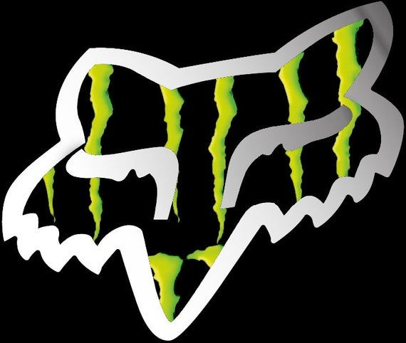 2 X Fox Head Monster Energy Logo Camo Style Black With Silver Outline Stickers Motor Bike Car Skate Helmets Laminated High Quality In 2020 Fox Racing Logo Fox Racing Tattoos Monster Energy