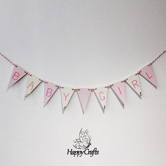 Baby Girl Wooden Bunting Baby Pink & Cream by HappyCraftsx on Etsy