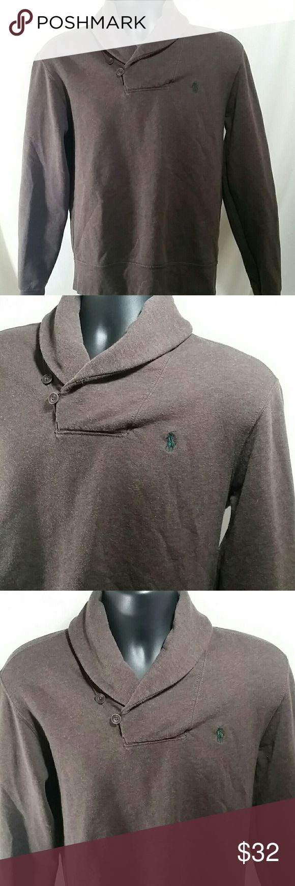 POLO BY RALPH LAUREN Shawl Collar Sweater Size M Handsome POLO BY RALPH LAUREN brown Shawl collar Sweater, with elbow patches.   This Sweater is a size Medium.   This POLO BY RALPH LAUREN Shawl Collar Sweater is in excellent condition. Polo by Ralph Lauren Sweaters