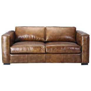 Leather sofa bed in aged brown, seats 3 BERLIN | Maisons du Monde