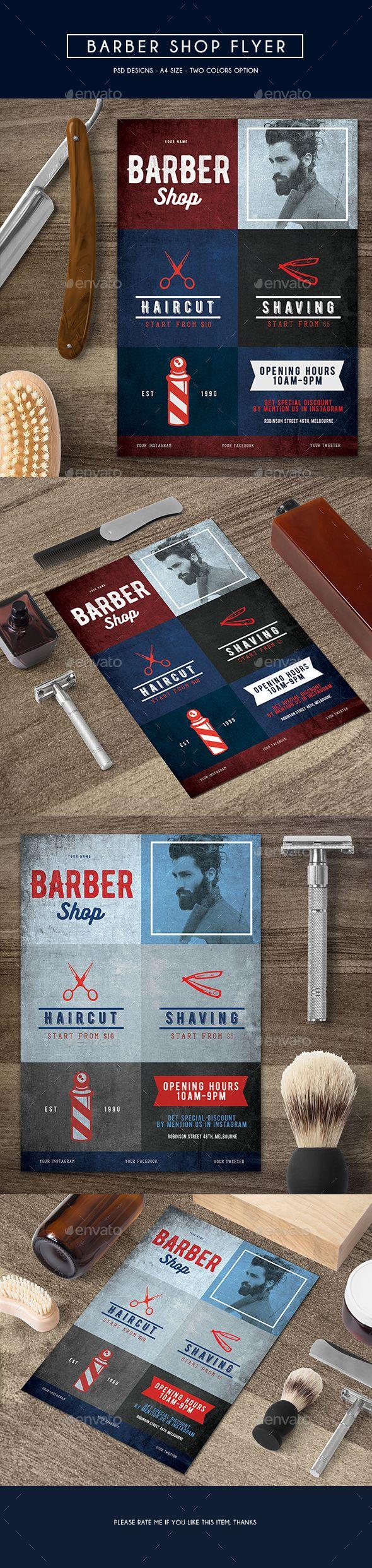 Barber Shop Flyer — Photoshop PSD #moustache #cut • Available here → https://graphicriver.net/item/barber-shop-flyer/15265888?ref=pxcr