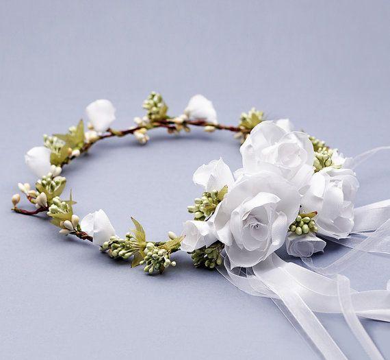 Rustic Woodland wreath white Flower Crown hair by FloralHeadpiece