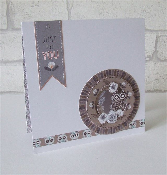 'Just For You' handmade owl card