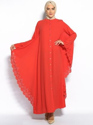 Laser Cut Abaya - Orange - Avenna