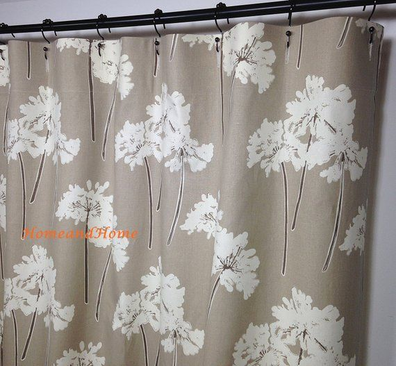 Custom Fabric Shower Curtain Serenity Linen Ivory Taupe Tan Stall