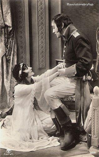 Diomira Jacobini and Gösta Ekman in Revolutionsbryllup. Danish postcard by Alex. Vincent's Kunstforlag, Eneret, no. 253. Photo: publicity still for Revolutionsbryllup/The Last Night (A.W. Sandberg, 1927).