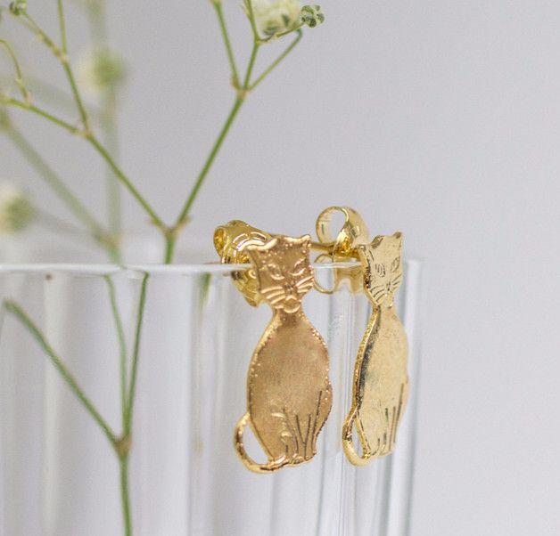 Stud Earrings – Cute Cat Earrings ,Gold studs Earring – a unique product by gazellejewelry on DaWanda