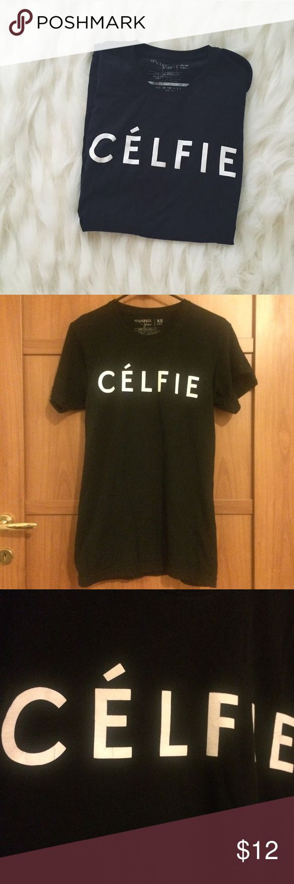 "Sincerely Jules Celfie in the style of Celine tee the original ""Celfie"" shirt in the style of ""Celine"" black with white words, slightly cracked but unnoticeable when worn. size xs and fits true to size Urban Outfitters Tops Tees - Short Sleeve"
