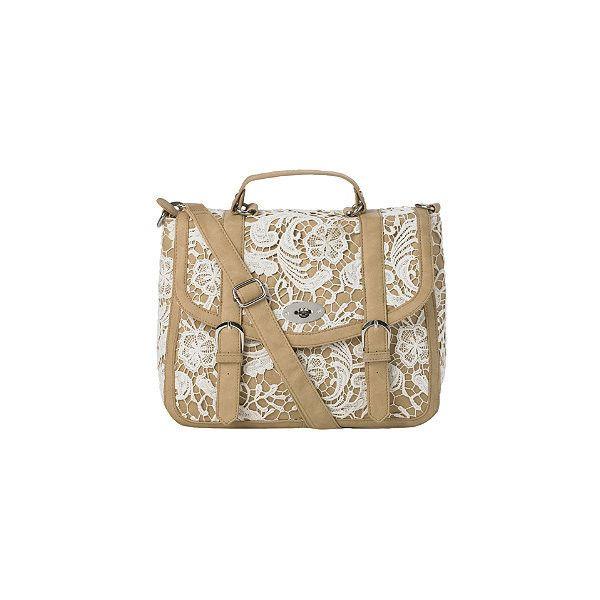 Croshet Twist Lock Satchel New look (64 AUD) ❤ liked on Polyvore featuring bags, handbags, purses, accessories, bolsas, borse, satchel style handbags, satchel bags, brown satchel and satchel hand bags