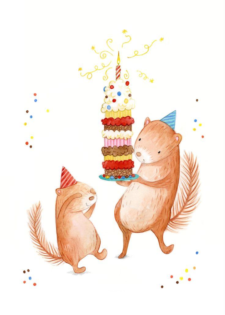 Поздравительные открытки с днем рождения с белкой, трусов надписями