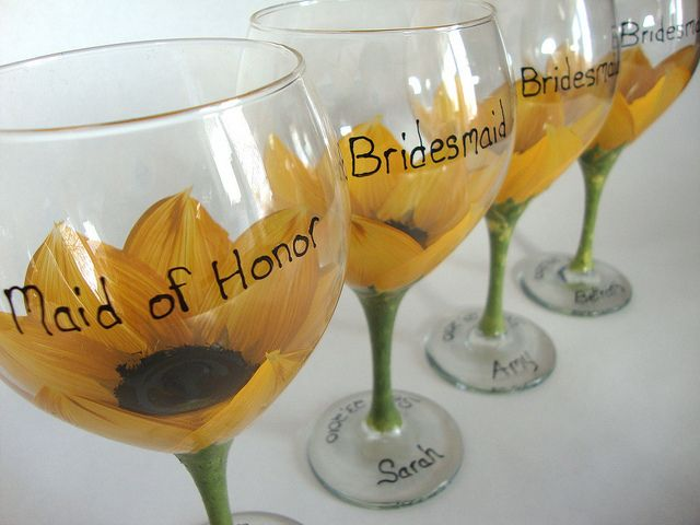 Bridesmaid sunflower wedding glasses by judipaintedit, via Flickr