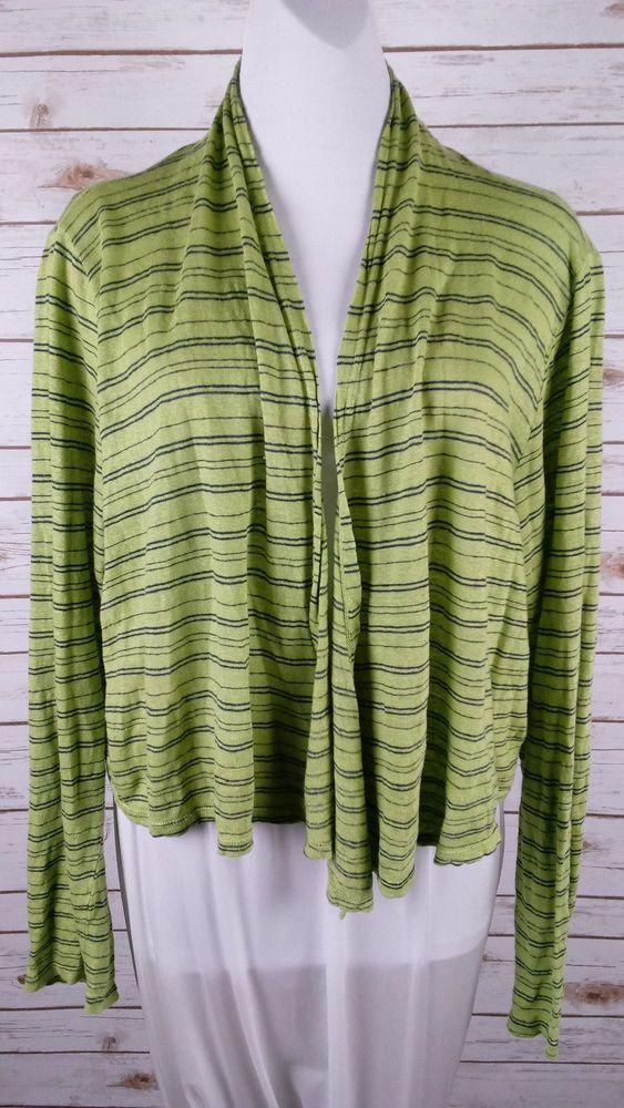 Cut Loose XL Green & Navy Striped Open Cardigan Draped Lagenlook 100% Linen USA #CutLoose #Cardigan