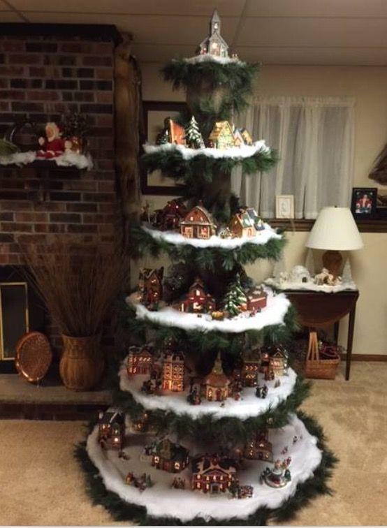Homemade platform tree to display a beautiful Christmas Village!!!