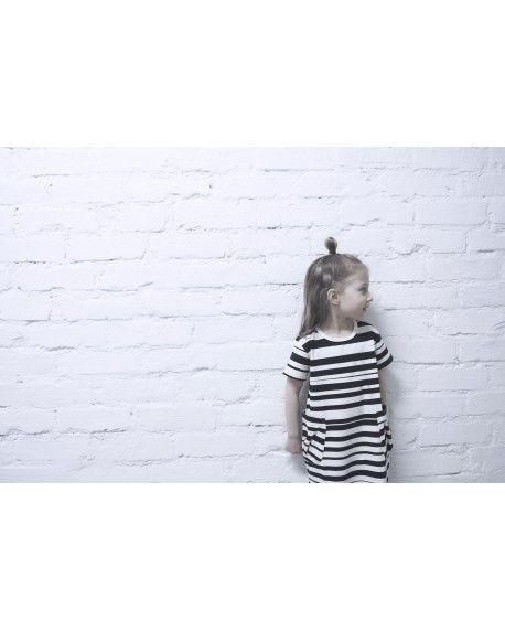Stripe - Short sleeve pocket dress - by AARREKID