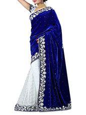 Blue & White velvet half & half Saree - Online Shopping for Sarees