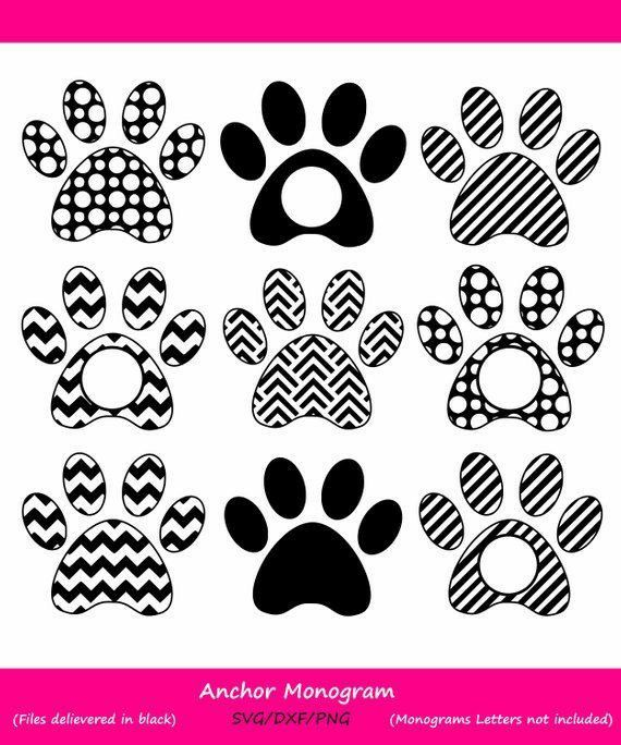 Pin By Leilani Wrobel On Puppy Dog Party Paw Print Monogram Svg Monogram Frame