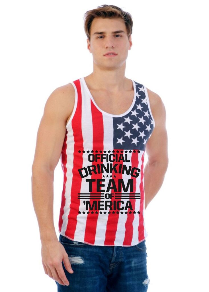 Official drinking team of America 4th of july Usa Flag shirt Men's Jersy Tanktop Independence Day tank top Shirt Gift patriot tee celebration
