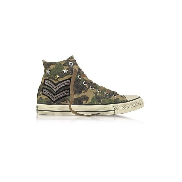 Converse Limited Edition Shoes Chuck Taylor All Star High Military... (10.340 RUB) ❤ liked on Polyvore featuring shoes, sneakers, green, studded sneakers, green shoes, canvas lace up sneakers, canvas shoes and canvas lace up shoes