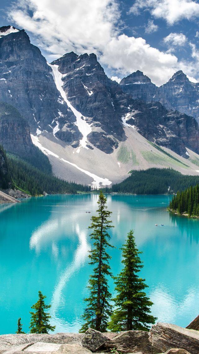 Moraine Lake, 4k, 5k wallpaper, Canada, mountains, lake (vertical)