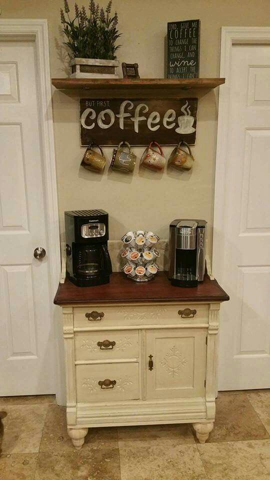 Paint the tea station white bottom and brown top kitchen for Coffee station furniture