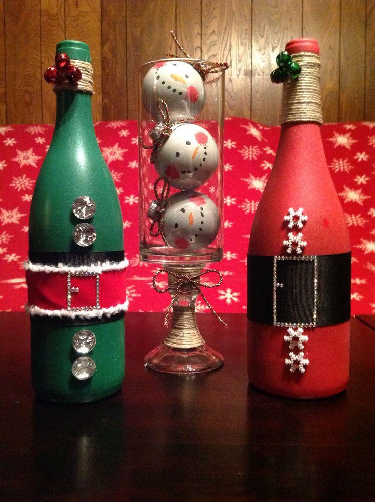 Santa Wine Bottle Elf Wine Bottle And Snowman Trio In A
