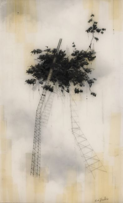 Brooks Salzwedel's drawings are hand drawn graphite on Duralar cast in layers of resin. Colour in the pieces are made by layers of transparent tape.