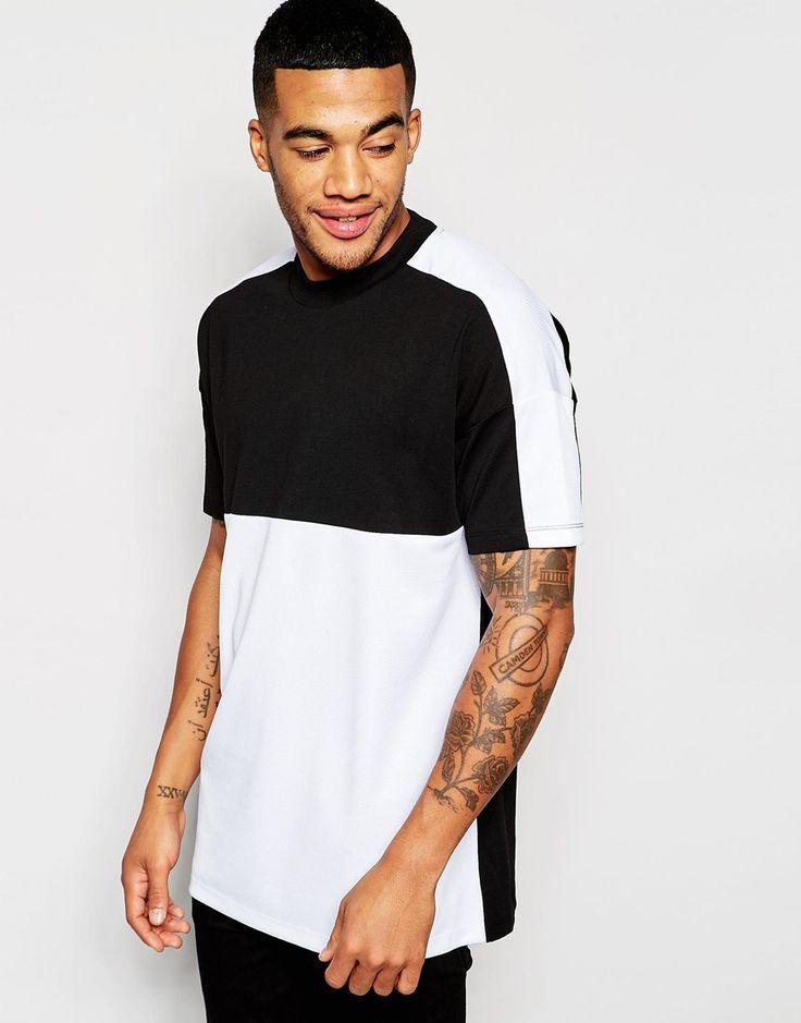 Bild 1 von ASOS – Longes Oversize- T-Shirt mit schwarzweißen Netzstoffeinsätzen
