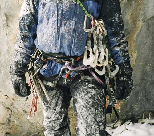 The cold reality of ice climbing.  Brrr.....