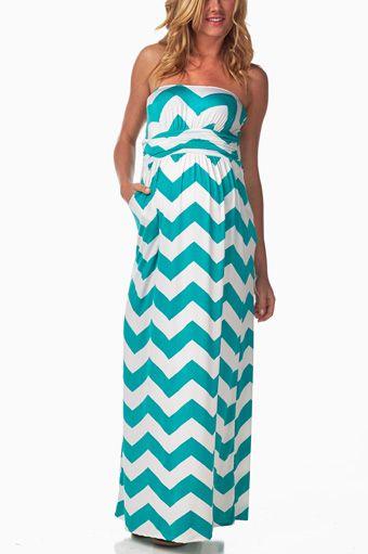 Turquoise-White-Chevron-Maternity-Maxi-Dress