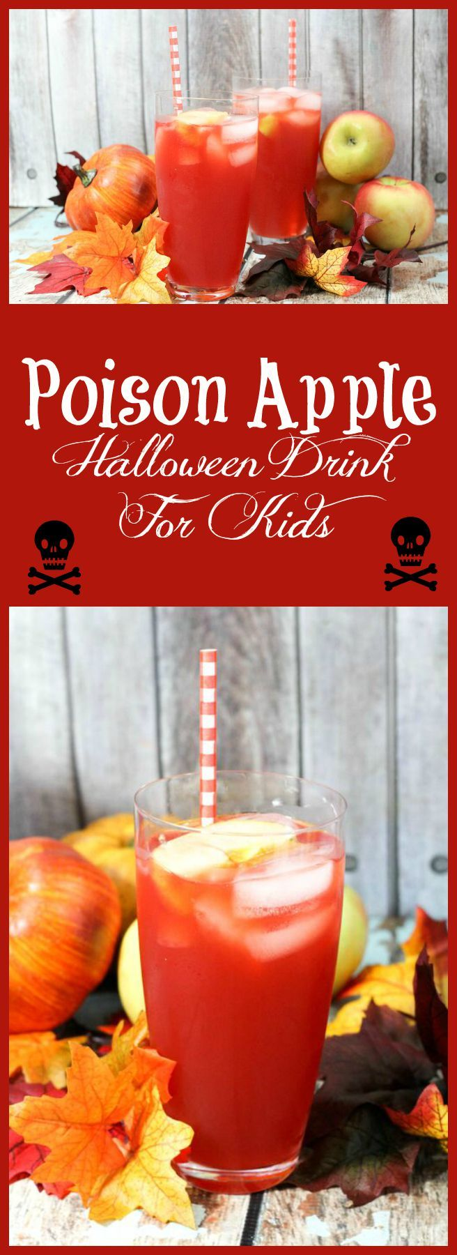 Check out this fun Poison Apple Halloween drink recipe for kids, along with a great recipe for making your own apple cider!