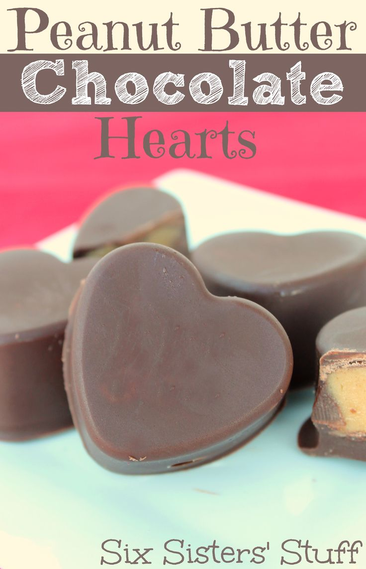 Peanut Butter Chocolate Hearts - These are so cute and delicious!