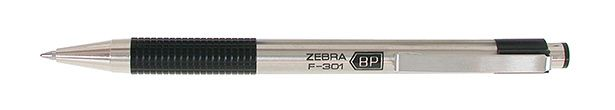 Zebra F-301: After years of searching, THIS is my perfect pen.  No cap to lose,  smooth ink flow, hasn't yet leaked onto my coat pocket, and not expensive.  AND, this may be the perfect pen for writing on carbon paper.  (something I have to do multiple times a day.)