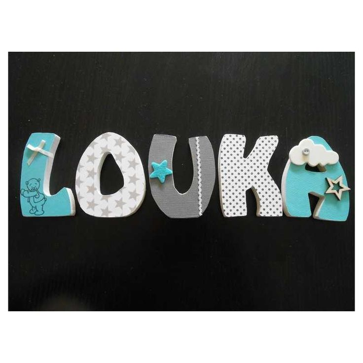 Prénom avec lettres en bois personnalisables : exemple LOUKA