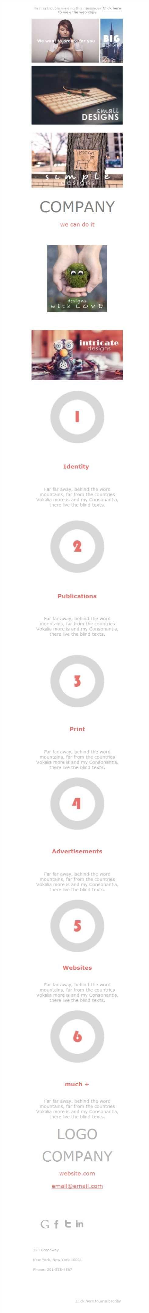 El diseño gráfico es una gran disciplina donde la creatividad no tiene límites. Igual que nuestras plantillas newsletter, sin límites, porque llegan a todos los formatos móviles gracias al diseño responsive.