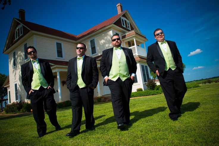 Edward's Groomsmen sported lime green vests which gave new life to the traditional black tux.  Laske Images Photography www.okcweddingphotographers.com