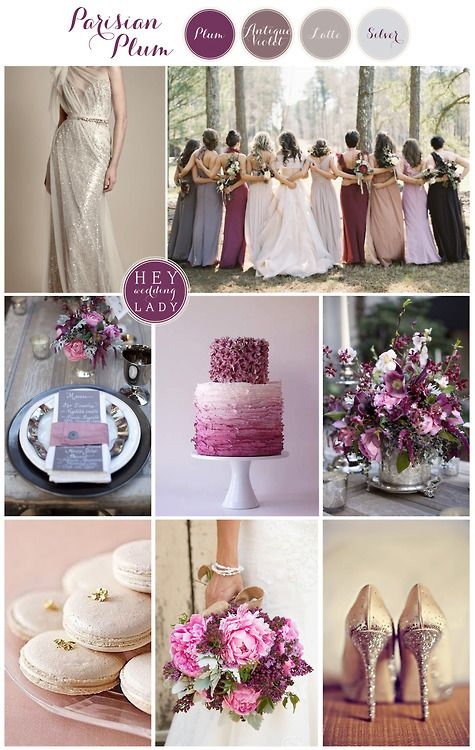 Parisian Plum Wedding inspiration board - purple, antique violet, taupe latte-----Brittany these are great colors!