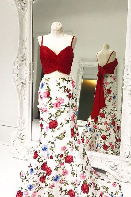 7fe197b0800 Elegant Straps Two Piece Red Mermaid Long Floral Prom Dress in 2018 ...