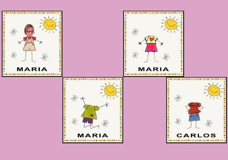 Plantillas para poner el nombre y foto de los niños en el cole.  Descargalas y editalas como quieras.