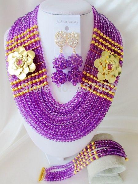 Лучшие Продажи Фиолетовый кристалл ожерелья костюма ювелирные нигерийский свадьбы африканские бусы комплект ювелирных изделий ABC433