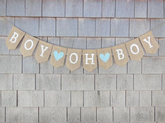 Baby Boy Banner Baby Boy Bunting Burlap by IchabodsImagination