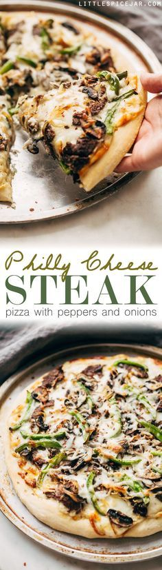 Philly Cheese Steak Pizza - Change up your Friday night pizza routine with a homemade Philly cheese steak pizza! Loaded with tons of veggies and meat, it's sure to be a crowd-pleaser! #pizza #phillycheesesteakpizza #steakpizza   http://Littlespicejar.com