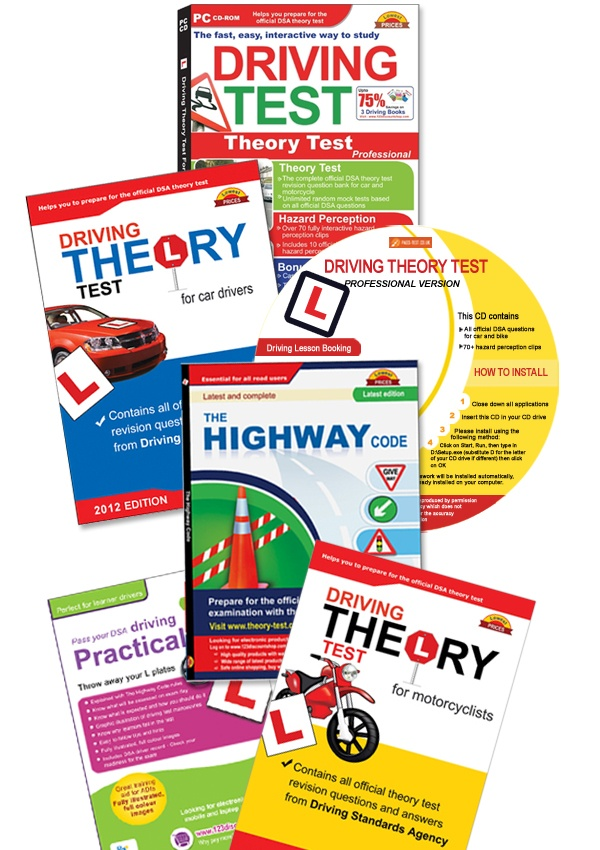 Driving theory test books and CDs for driving test practice.