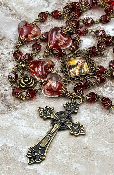 Sacred Heart of Mary Red Czech Fire Polished Crystal Lampwork Hearts Handcrafted Rosary