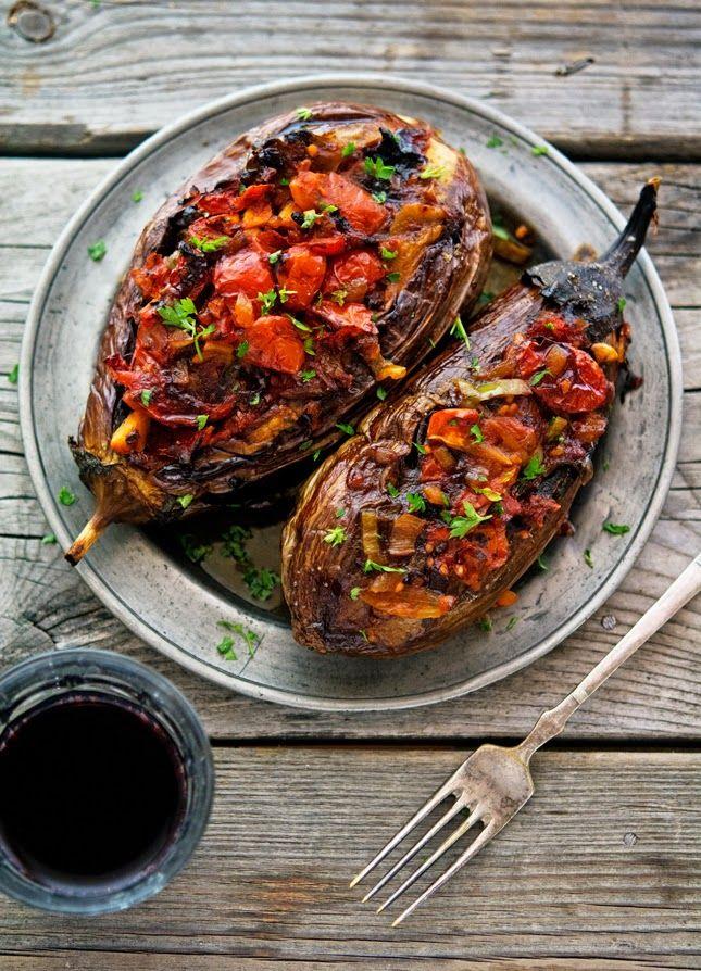 Yum.    Imam Bayildi (Stuffed Eggplant) Vegan. Gluten free.