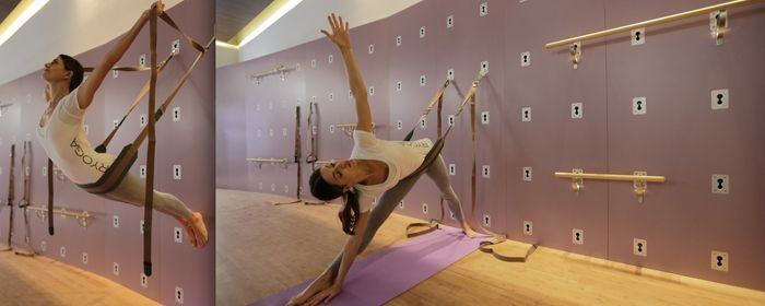 The principle behind the Yoga Wall has been around for decades, originally designed by BKS Iyengar in the form of ropes attached to wall hooks to assist students in various yoga asana (poses).