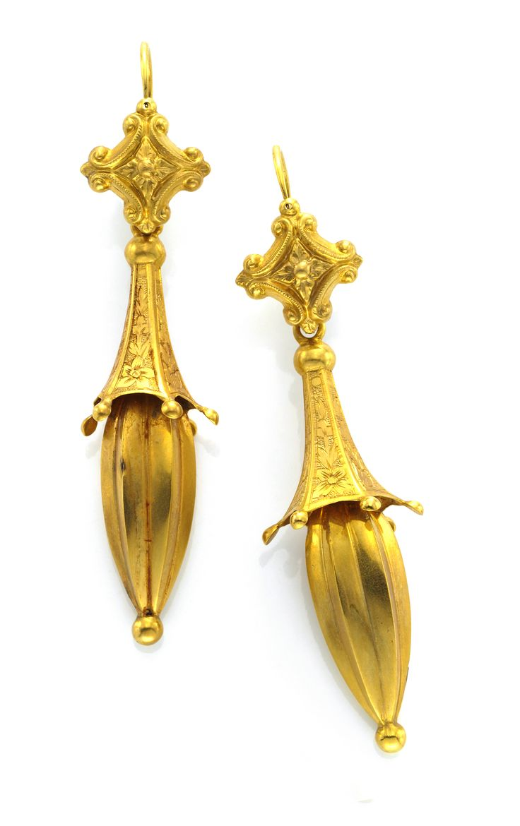 A Pair of Georgian Gold Ear Pendants, circa 1790. Available at FD Gallery. www.fd-inspired.com